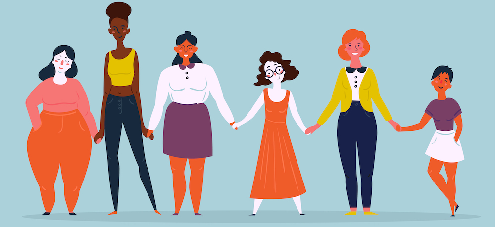 Six diverse women holding hands